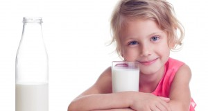 Child drinks milk